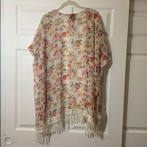 bobeau Sweaters - Bobeau   lightweight   Floral   Fringe   Cardigan